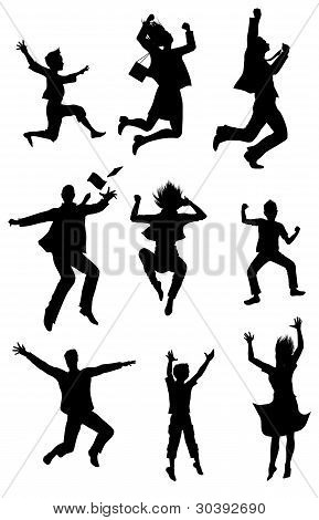 Jumping Silhouettes With Happiness Expression