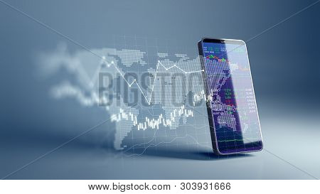 Financial Graph And Technology Element On Mobile Phone 3D Rendering