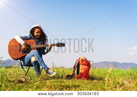Sing A Song .camping Party In The Forest.