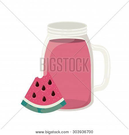 Glass With Watermelon And Skinny Drink Vector Illustration Design