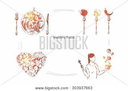 Young Woman Holding Delicious Salad, Vegetables In Heart Shape, Vitamin Diet, Vegetarian Lifestyle B