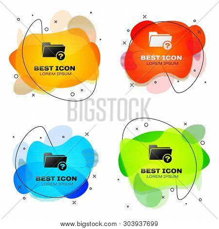 Black Unknown directory icon isolated on white background. Magnifying glass and folder. Set of liquid color abstract geometric shapes. Vector Illustration poster