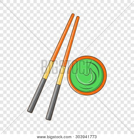 Wooden Chopsticks And Wasabi Icon. Cartoon Illustration Of Wooden Chopsticks And Wasabi Vector Icon