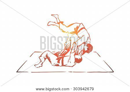 Judo, Eastern Martial Arts, Karate Sparring, Fighting Competition, Championship Match, Self Defence