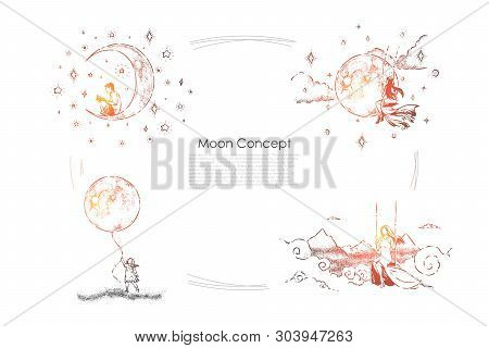 Boy Sitting On Crescent With Book, Young Women On Swings, Little Girl Holding Huge Moon Balloon, Ima
