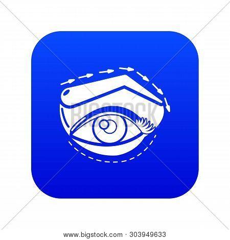 Eyelid Elevation Icon Blue Vector Isolated On White Background