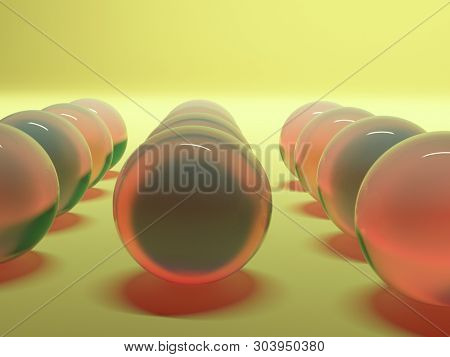 abstraction red spheres. 3d background