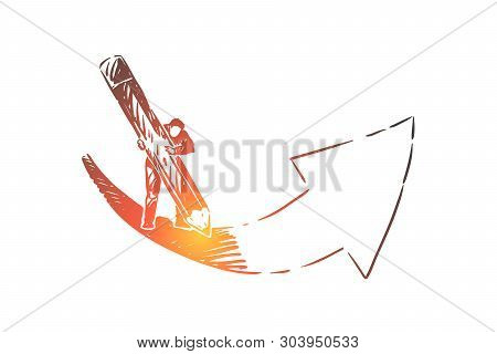 Setting Aims Metaphor, Man Drawing Arrow With Huge Pencil. Ambitious Person Working Hard To Accompli