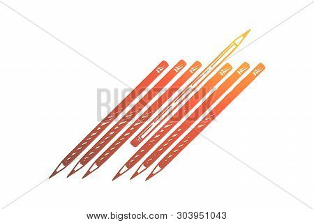 Not Like Everyone Else, Difference, Otherness, Social Isolation And Dissent. One Pencil Turning To A
