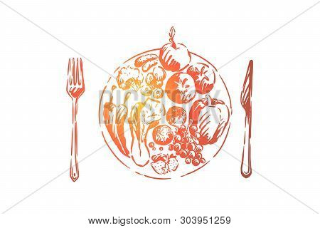 Fruits, Vegetables And Berries On Plate, Natural Lunch, Delicious Organic Meal, Vegan Food, Vitamin