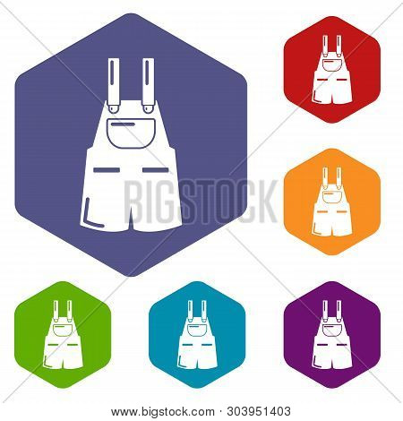 Jumpsuit Icons Vector Colorful Hexahedron Set Collection Isolated On White
