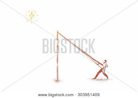 Reaching Stars Metaphor, Man In Catapult Pushing Himself In Sky. Dreams, Aspirations, Ambitions, Bus