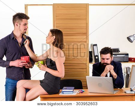 Woman Flirting With Coworker. Woman Attractive Working Man Colleague. Office Collective Concept. Mor