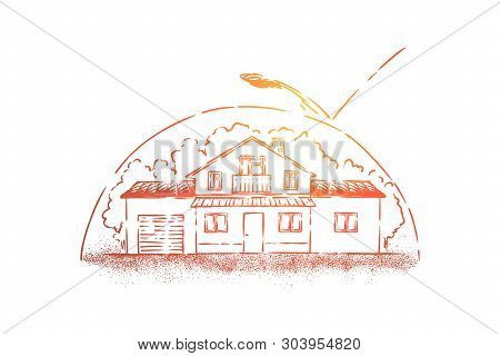 Protected House Metaphor, Cottage Under Protective Arch. Dwelling Place Defense During Atomic, Nucle