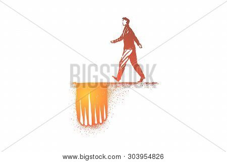 Dangerous Path Metaphor, Man Moving To Hole Trap With Sharp Spikes. Unsuspecting Businessman Moving