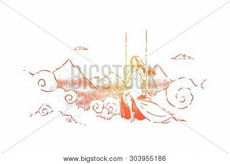Innocence, Loneliness And Solitude, Freedom Abstract Metaphor. Young And Beautiful Dreamy Woman Swin