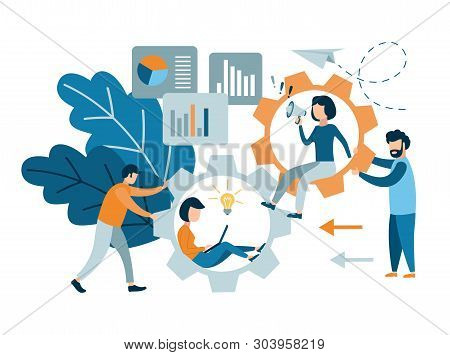Flat Style Modern Teamwork. Conceptual Web Illustration Of Business People On Cog Wheels.