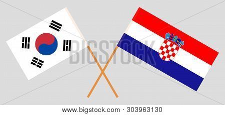 Croatia and South Korea. The Croatian and Korean flags. Official colors. Correct proportion. Vector illustration poster