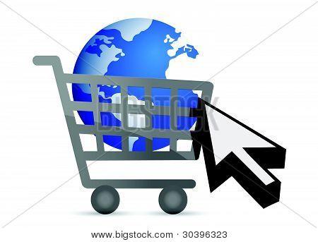 shopping cart globe and cursor illustration design