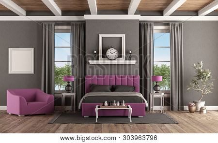 Master Bedroom In Classic Style With Modern Purple Bedroom And Armchair - 3d Rendering