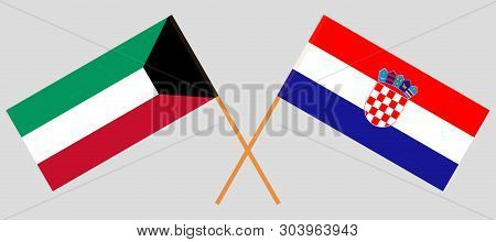 Croatia and Kuwait. The Croatian and Kuwaiti flags. Official colors. Correct proportion. Vector illustration poster