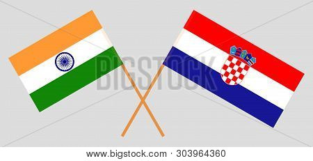Croatia and India. The Croatian and Indian flags. Official colors. Correct proportion. Vector illustration poster