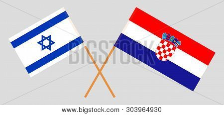 Croatia and Israel. The Croatian and Israeli flags. Official colors. Correct proportion. Vector illustration poster