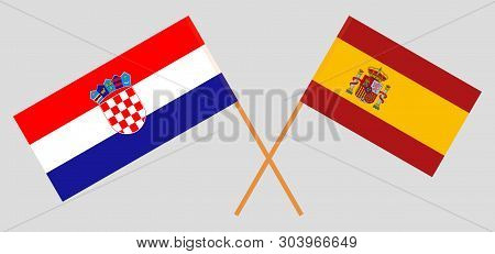 Croatia And Spain. The Croatian And Spanish Flags. Official Colors. Correct Proportion. Vector Illus