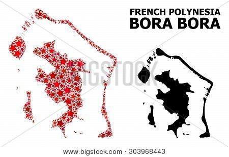 Red Star Mosaic And Solid Map Of Bora-bora. Vector Geographic Map Of Bora-bora In Red Color Tinges.