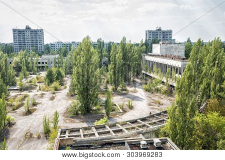 Pripyat, Ukraine - August 19, 2017: View To The Central Square Of Abandoned Town Pripyat.