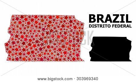 Red Star Mosaic And Solid Map Of Brazil - Distrito Federal. Vector Geographic Map Of Brazil - Distri