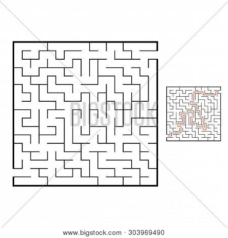 Abstact Labyrinth. Educational Game For Kids. Puzzle For Children. Maze Conundrum. Find The Right Pa