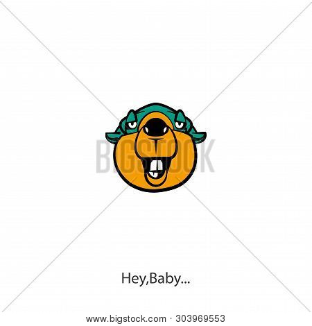 Head Of A Ridiculously Contented Laughing Beaver Against A White Background. Sticker, Pattern, Backg