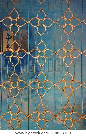 Wrought Blue And Yellow Ornamental Metal Lattice