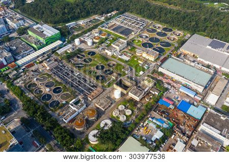 Tai Po, Hong Kong 20 May 2019: Top view of sewage plant in Hong Kong