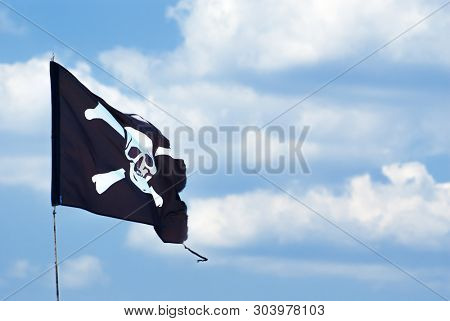 pirate flag on sky background