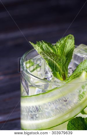 Infused Cucumber Drink With Mint. Detox Water.selective Focus