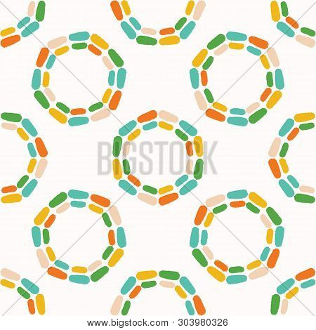 Abstract Dotty Retro Circles. Vector Pattern Seamless Background. Hand Drawn Textured Style. Polka D