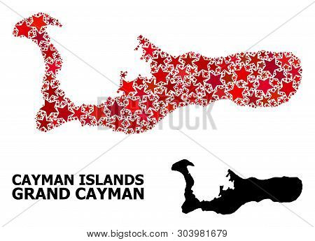 Red Star Pattern And Solid Map Of Grand Cayman Island. Vector Geographic Map Of Grand Cayman Island