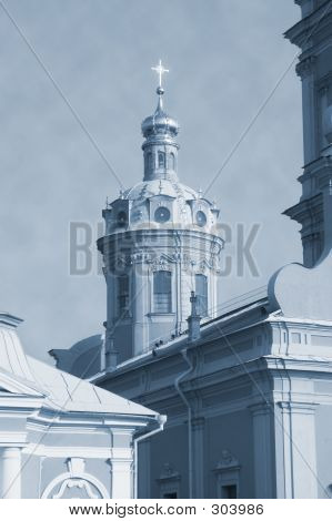 Church At Petropavlovskaya Fortress - Monochrome