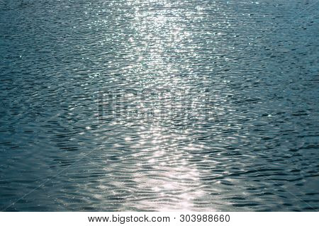 Water Background, Water In The Blue, White Wave Water On Beautiful, Wave Water Pool Floor, Sunlight