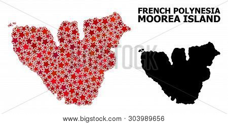 Red Star Mosaic And Solid Map Of Moorea Island. Vector Geographic Map Of Moorea Island In Red Color
