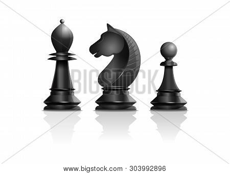 Black Chess Pieces Bishop, Knight, Pawn. Set Of Chess Pieces. Chess Concept Design. Realistic Vector