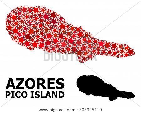 Red Star Pattern And Solid Map Of Pico Island. Vector Geographic Map Of Pico Island In Red Color Var