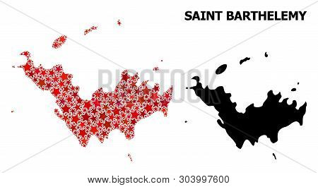 Red Star Mosaic And Solid Map Of Saint Barthelemy. Vector Geographic Map Of Saint Barthelemy In Red