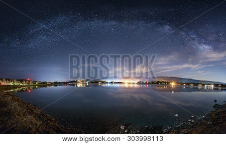 Scenic View Of The Starry Night Sky Showing The Milky Way Galaxy Depicting Astronomy Science Or A Re