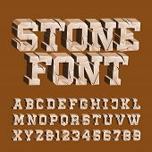 Cracked stone alphabet font. 3D damaged letters and numbers. Stock vector typescript for your typography design. poster