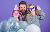 Best dad ever. Fathers day. Daughters need father actively interested in life. Birthday party. Father with two daughters having fun. Fatherhood concept. Friendly family wear funny party accessories poster