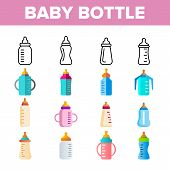 Baby Bottle, Childcare Equipment Vector Linear Icons Set. Baby Bottles with Latex, Silicone Nipples for Feeding Infants. Sippy Cups Thin Line Pictograms. Plastic Containers for Liquid Color Symbols poster