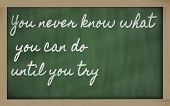 handwriting blackboard writings - You can't teach an old dog new tricks poster